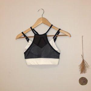 Without Walls Black & White Mixed Mesh Sports Bra